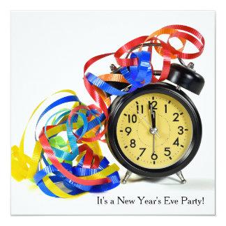 Nouvelles années d'Ève d'horloge de partie Carton D'invitation 13,33 Cm