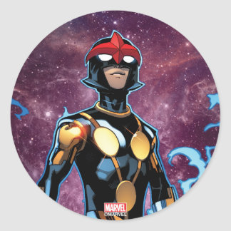 Nova Over Fallen Nova Corps Helmets Classic Round Sticker