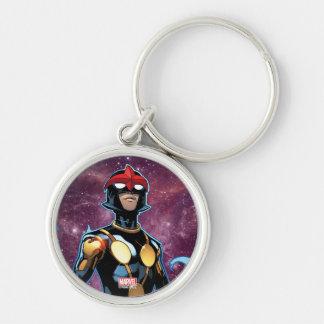 Nova Over Fallen Nova Corps Helmets Silver-Colored Round Keychain