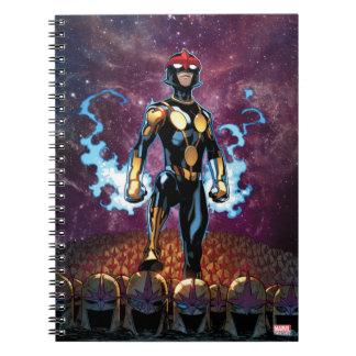Nova Over Fallen Nova Corps Helmets Spiral Notebook