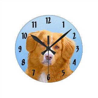 Nova Scotia Duck Tolling Retriever Dog Painting Round Clock