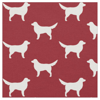 Nova Scotia Duck Tolling Retriever Silhouettes Red Fabric