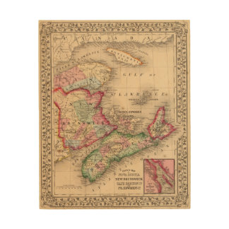 Nova Scotia, New Brunswick, Map by Mitchell Wood Wall Decor