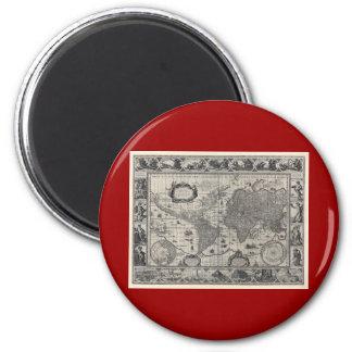 Nova totius terrarum, 1606 Antique World Map 2 Inch Round Magnet