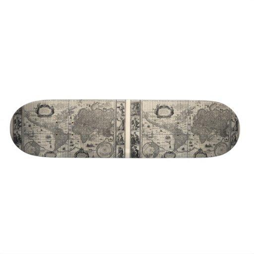 Nova totius terrarum, 1606 Antique World Map Skateboard