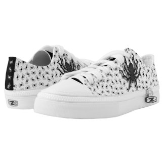 Novel Halloween Black/White Huge Spider Pattern Low-Top Sneakers