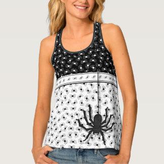 Novel Halloween Black/White Huge Spider Pattern Tank Top