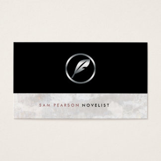 Novelist Bold Silver Quill Icon Elegant Business Card
