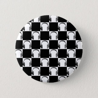 Novelty Black & White Checks & Headphones Pattern 2 Inch Round Button