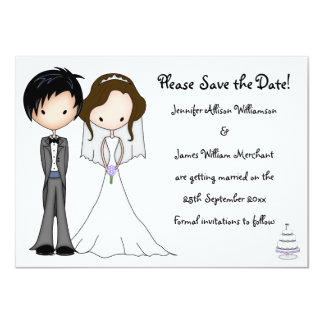 "Novelty Bride and Groom Cartoon Save the Date 4.5"" X 6.25"" Invitation Card"