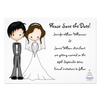 Novelty Bride and Groom Cartoon Save the Date Custom Invitations