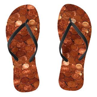 Novelty Copper Coins Flip Flops