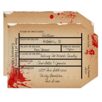 Novelty Coroners Toe Tag Halloween Card