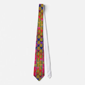 Novelty Headphones Multicolored Mosaic Pattern Tie