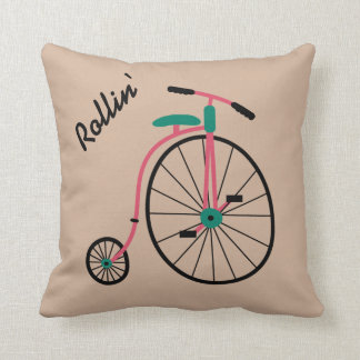 Novelty Old Fashioned Bike Throw Pillow