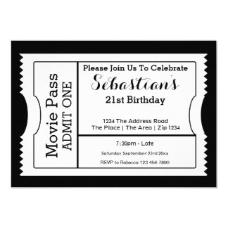 """Novelty Party Admission Ticket Black And White 5"""" X 7"""" Invitation Card"""