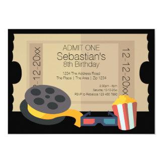 "Novelty Party Admission Ticket Popcorn Movie Reel 5"" X 7"" Invitation Card"