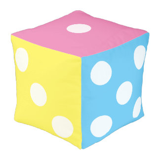 Novelty Pastel Rainbow Dice Colorful Nursery Room Pouf