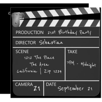 "Novelty Personalized Custom Movie Clapperboard 5.25"" Square Invitation Card"