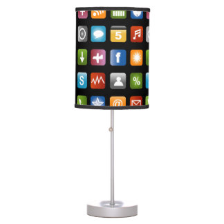 Novelty table lamp with vector app icons design
