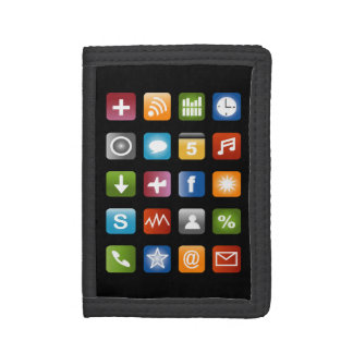 Novelty wallet with vector app icon graphics