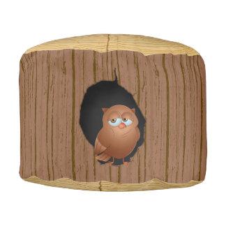 Novelty Woodland Forest Tree Stump Owl Pouf