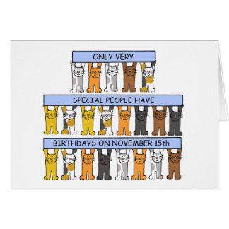 November 15th Birthday Cats Card