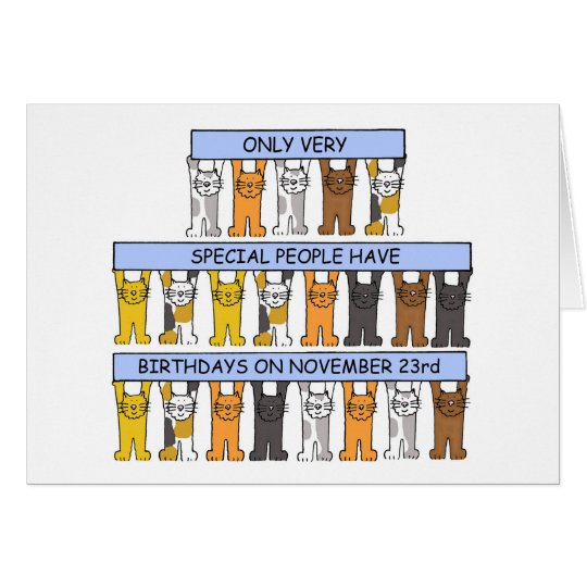 November 23rd Birthday Cats Card