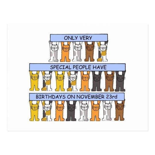 November 23rd Birthday Cats Postcard