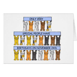 November 24th Birthdays celebrated by cats. Card