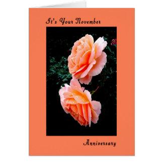 November Anniversary Card, Peach Roses Card