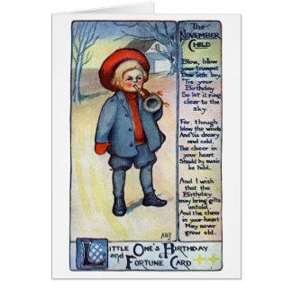 November Birthday Boy with Horn Card