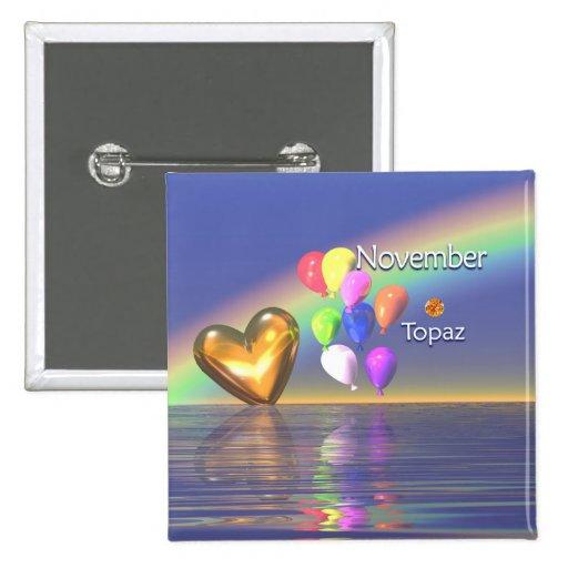 November Birthday Topaz Heart Button