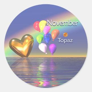 November Birthday Topaz Heart Round Sticker