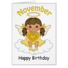 November Birthstone Angel Brunette Birthday Card