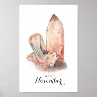 November Birthstone - Topaz Watercolor | Poster