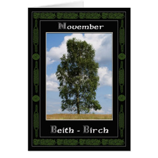 November Celtic Druid Birthday Tree Symbols Card