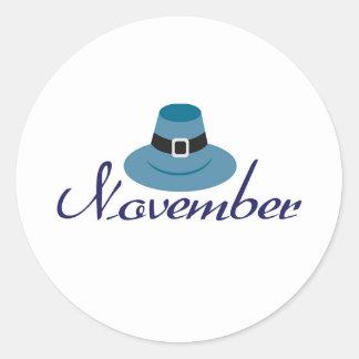 November Classic Round Sticker