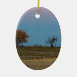 November Supermoon Rising Ceramic Ornament