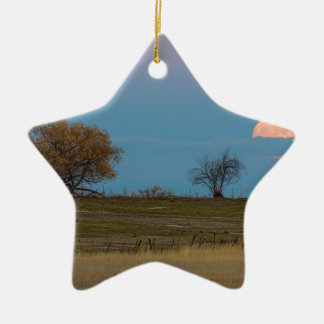 November Supermoon Rising Ceramic Star Ornament
