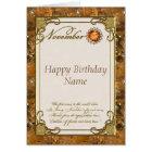 November Topaz Birthstone Birthday Card