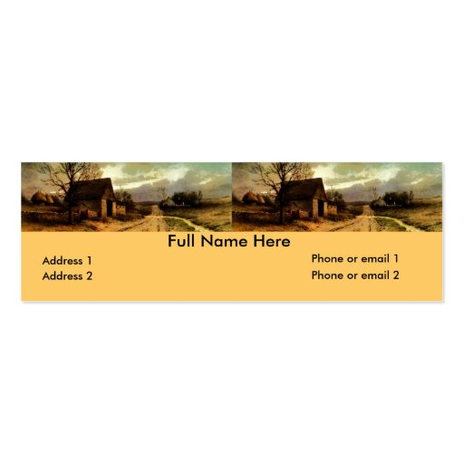 November Twilight  (1912) Barn and Fields Bookmark Business Card Template