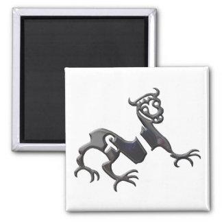 Novgorod Dragon black chrome Square Magnet