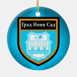 Novi Sad  Flag Round Ceramic Ornament