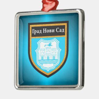 Novi Sad  Flag Silver-Colored Square Ornament