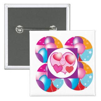 NOVINO Celeberations - Baloons,Stars n Hearts Pinback Buttons
