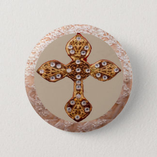 NOVINO Cross with Diamonds 2 Inch Round Button