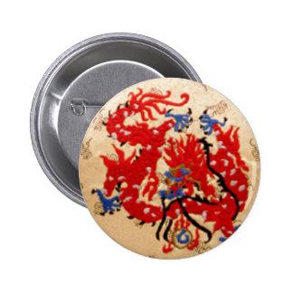 NOVINO Red n Gold Dragons 2 Inch Round Button