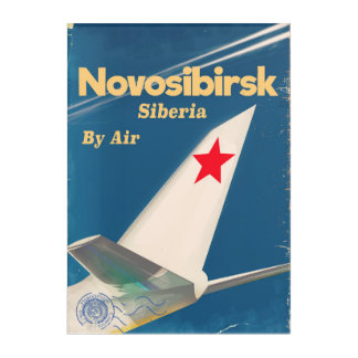Novosibirsk Siberia soviet union flight poster Acrylic Print