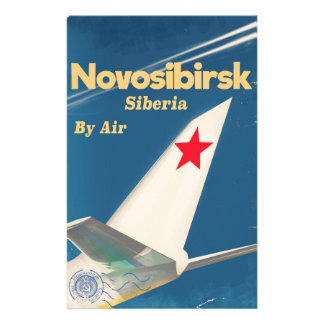 Novosibirsk Siberia soviet union flight poster Stationery